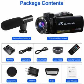SAULEOO 4K Video Camera Camcorder Digital YouTube Vlogging Camera Recorder UHD 30MP 3 Inch,  132.99